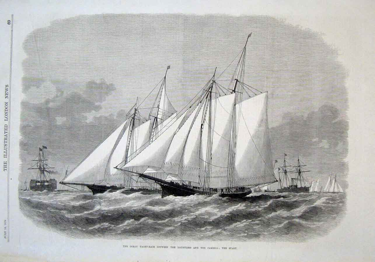 Print Ocean Yacht Race Dauntless V Cambria 1870 69Aaa1 Old Original