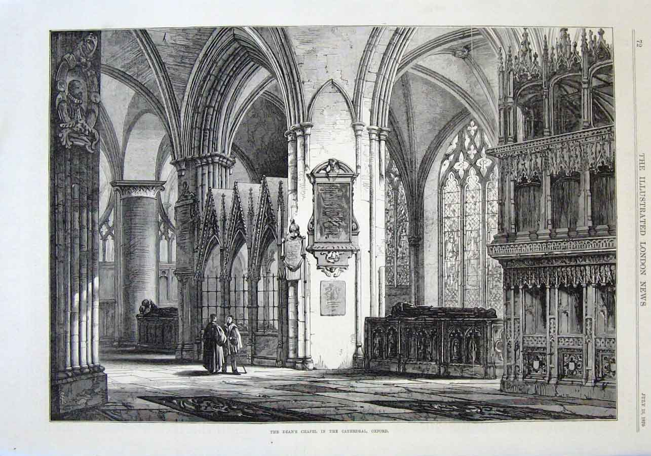 Print Deans Chapel Oxford Cathedral 1870 72Aaa1 Old Original