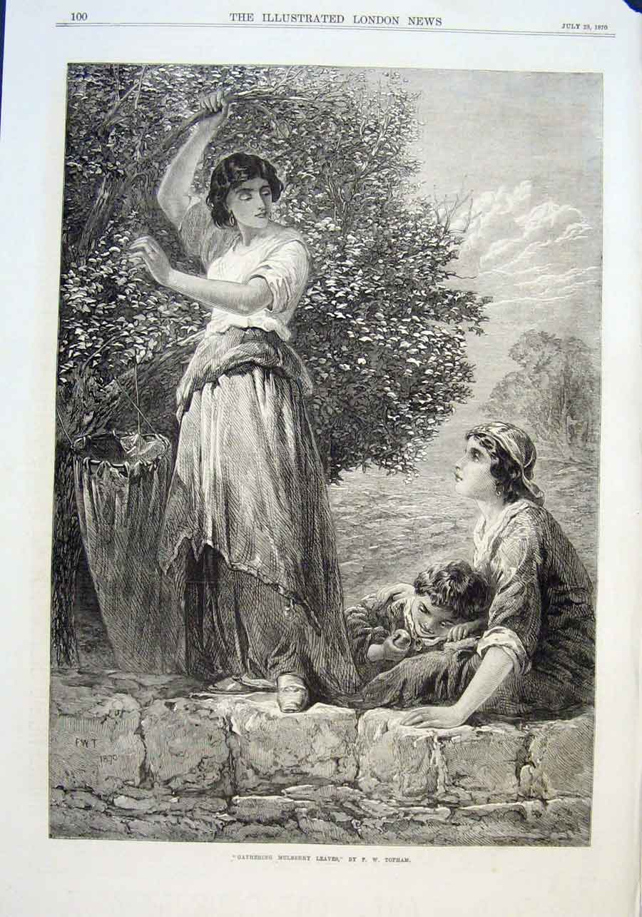 Print Girls Gathering Mulberry Leaves 1870 00Aaa1 Old Original