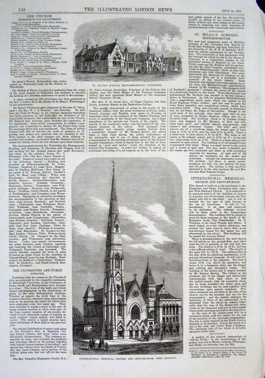 Print St Hilda School Yorkshire Church West Hackney 1870 32Aaa1 Old Original