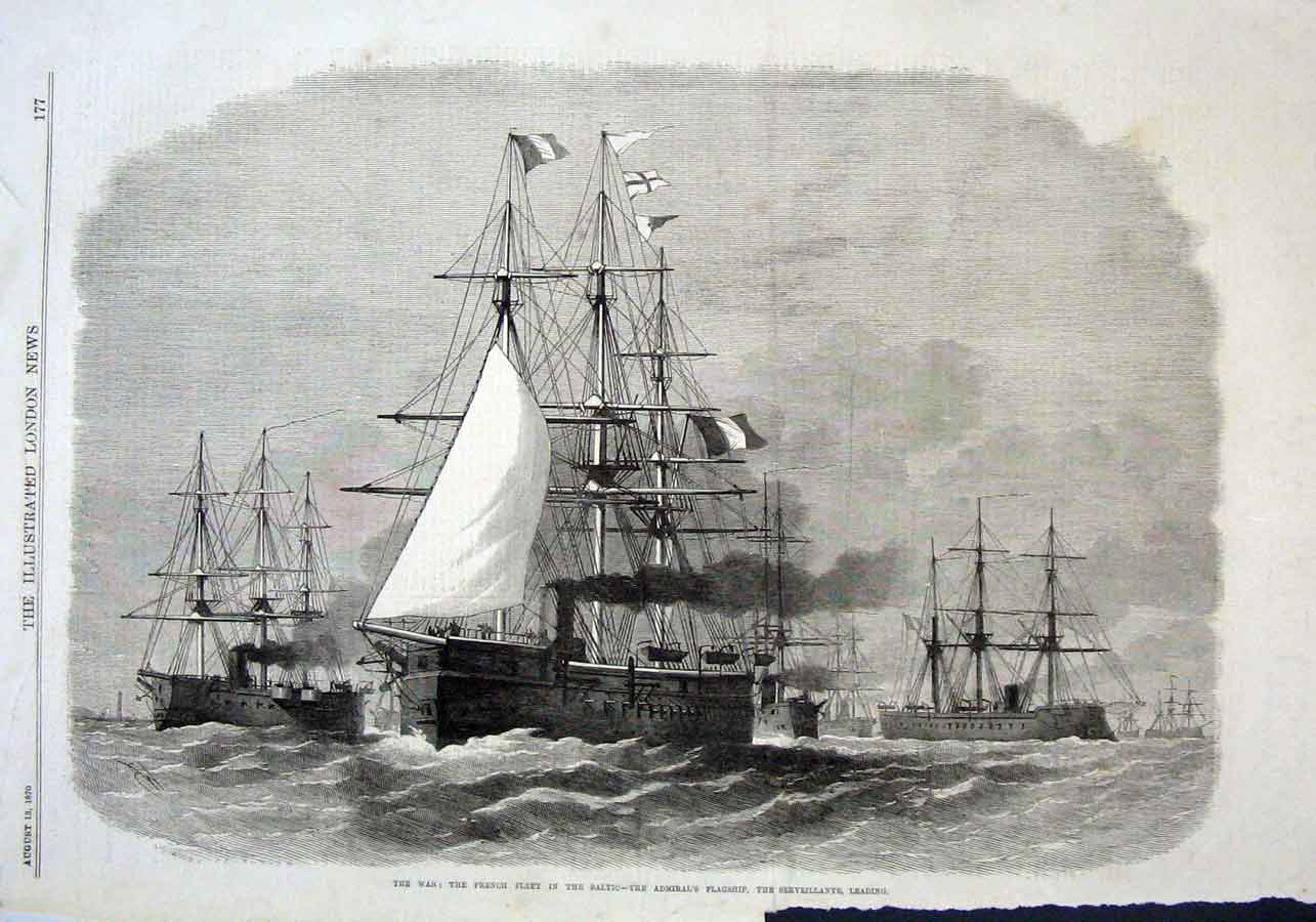 Print French Ships In Baltic The Serveillante 1870 77Aaa1 Old Original