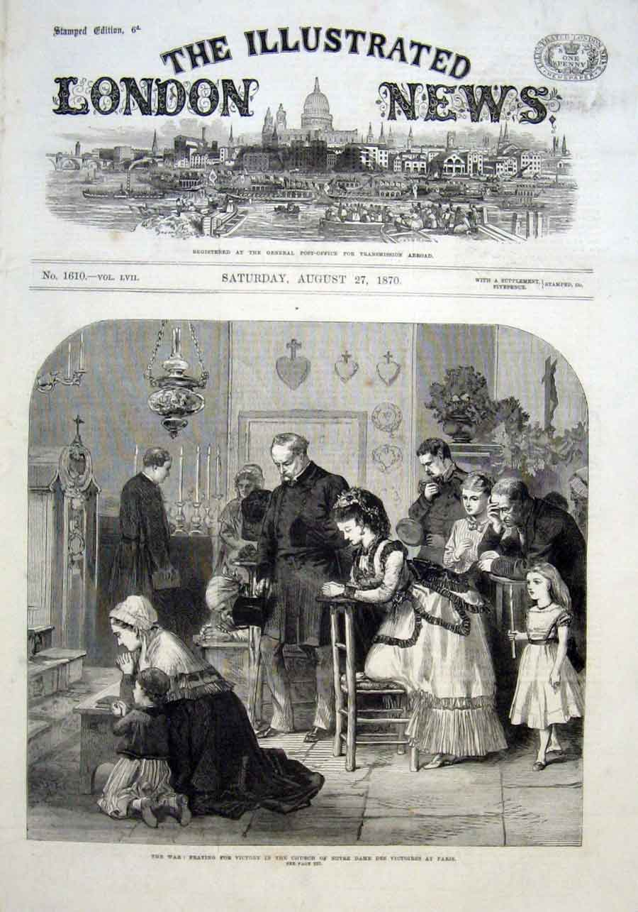 Print Praying For Victory Notre Dames Des Victories Paris 187 06Aaa1 Old Original