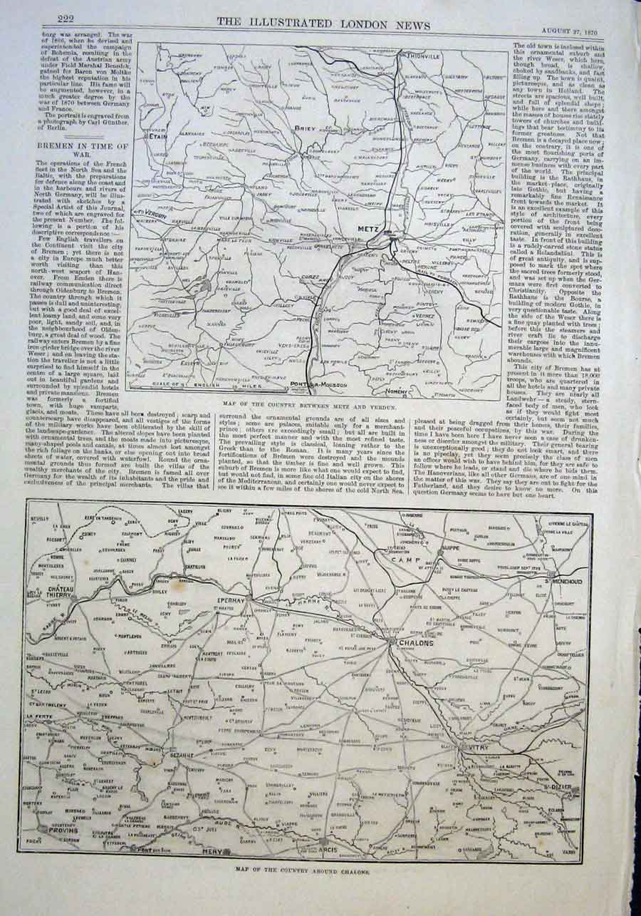 Print Maps Aqround Metz & Chalons France 1870 22Aaa1 Old Original