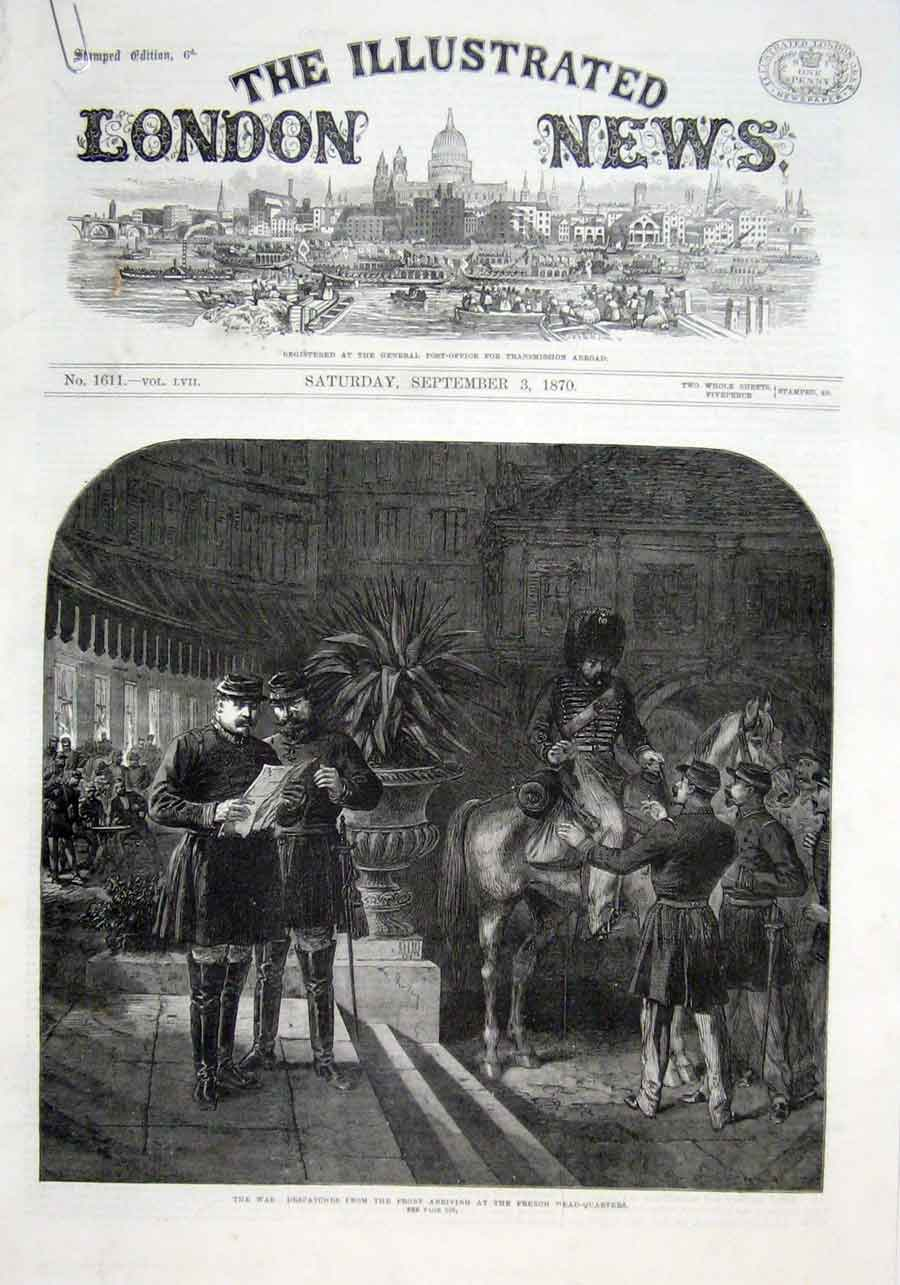 Print French Hq Distatches From Front 1870 War 28Aaaa1 Old Original
