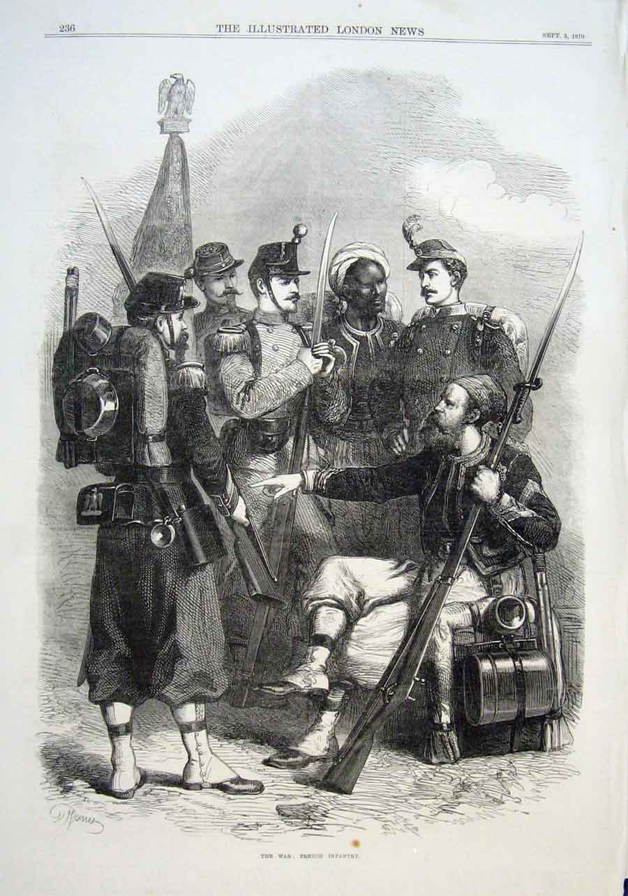 Print Uniforms French Infantry 1870 36Aaa1 Old Original