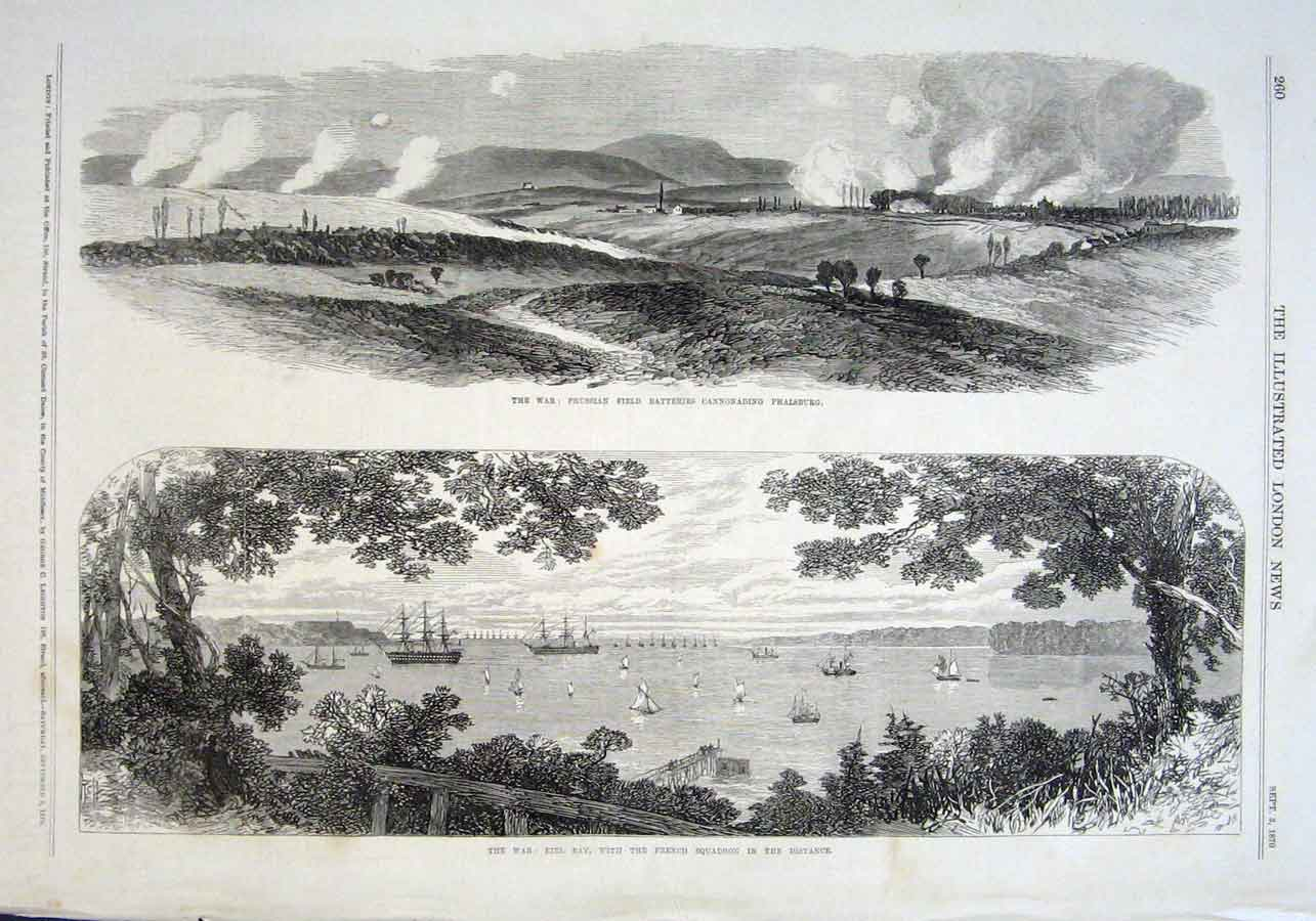Print Kiel Bay With French Ships In Distance 1870 60Aaa1 Old Original