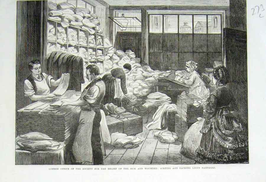 Print London Society Sick Wounded 1870 Linen Bandag 73Laaa1 Old Original