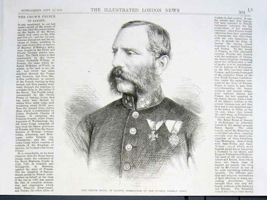 Print Prince Royal Saxony Commander Fourth German Army 1870 01Uaaa1 Old Original