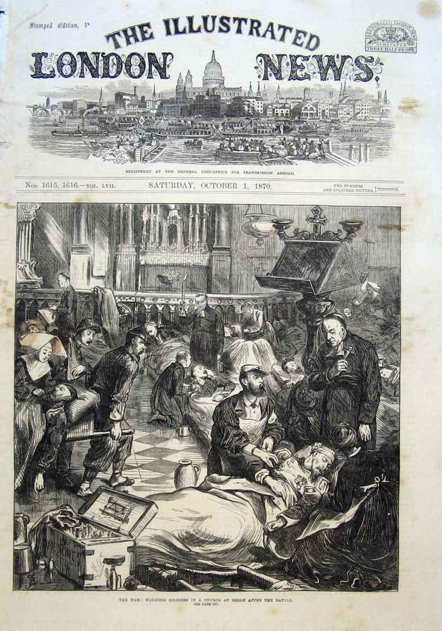 Print Wounded Soldiers In Church Sedan After Battle 1870 34Aaa1 Old Original