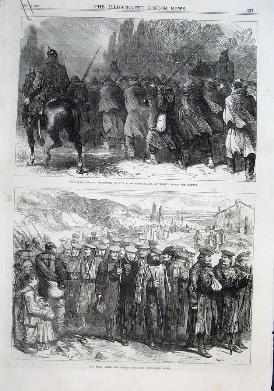 Print Prisoners & Wounded Railway Train & Guns Prussian War 37Aaaa1 Old Original