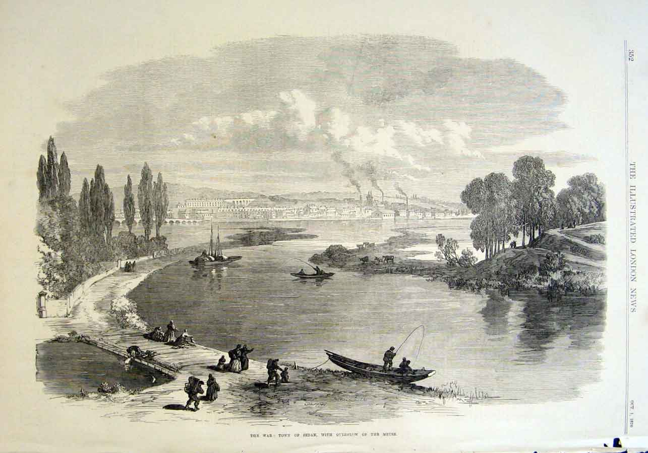 Print River Meuse Town Sedan 1870 France 52Aaa1 Old Original