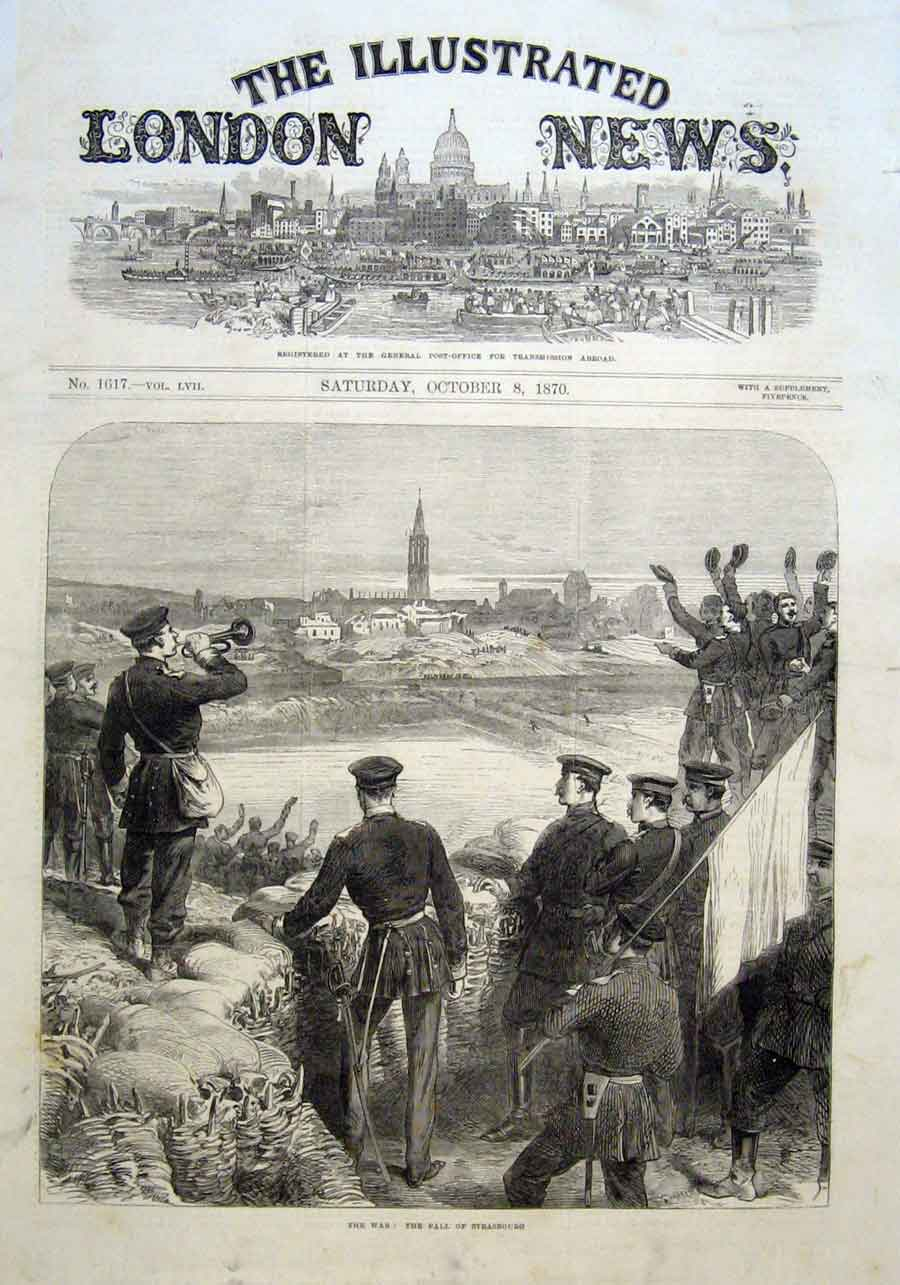 Print The Fall Strasbourg 1870 France 66Aaa1 Old Original