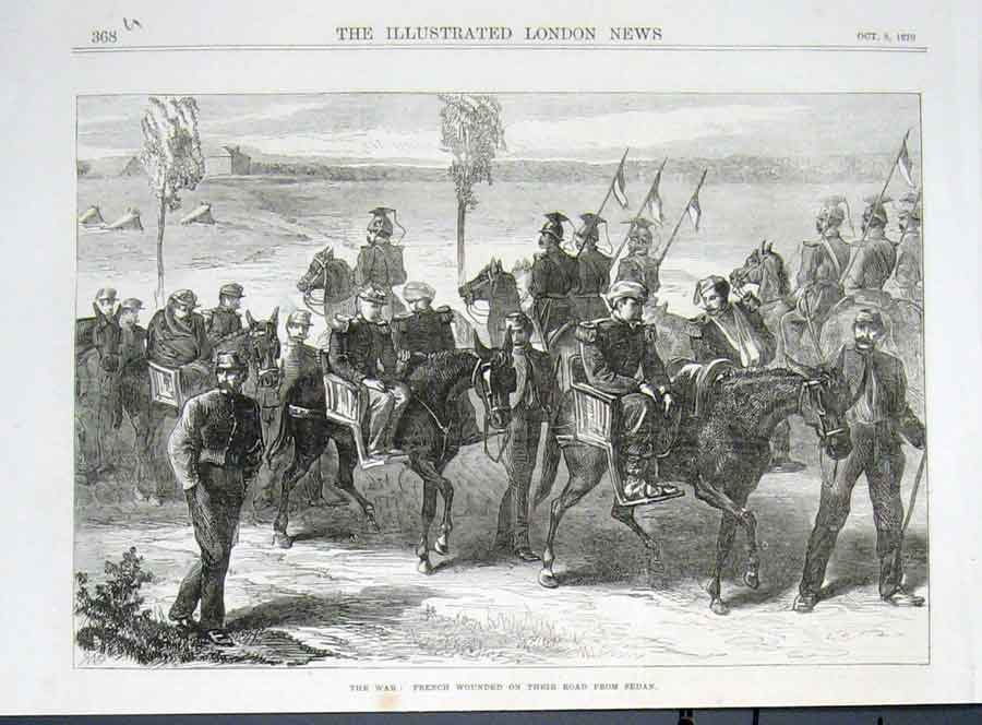 Print French Wounded On Road From Sedan 1870 War France 68Uaaa1 Old Original