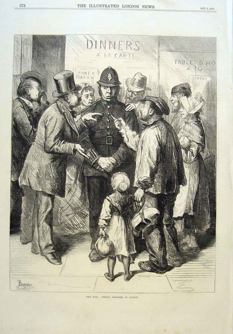 Print French Refugees In London 1870 War France 72Aaa1 Old Original