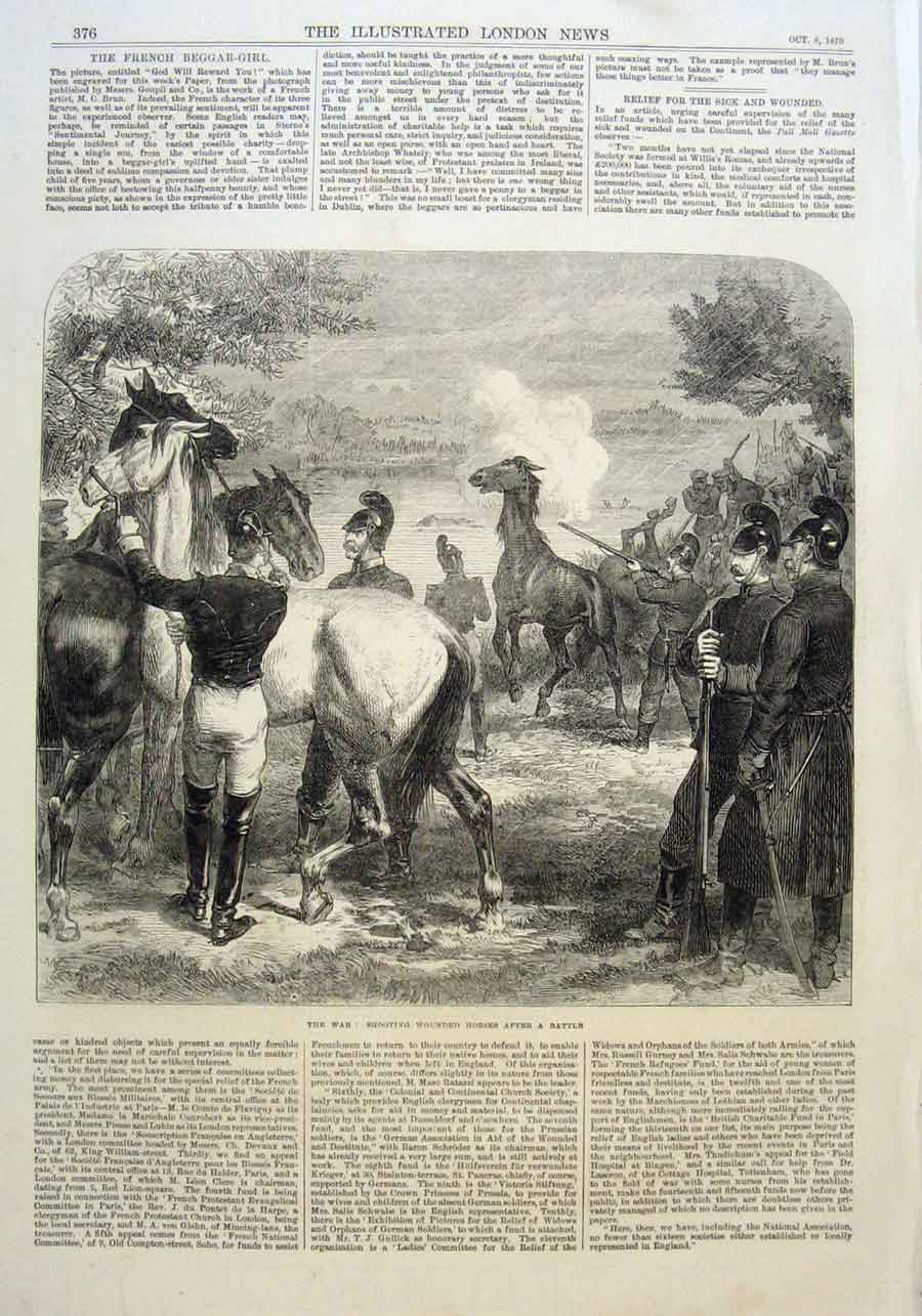 Print Shooting Wounded Horses After Battle 1870 War France 76Aaa1 Old Original