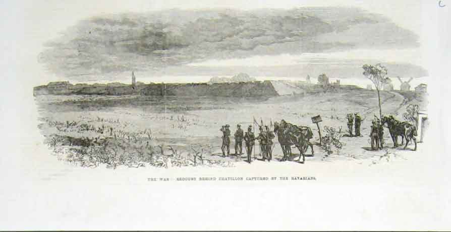 Print Redoubt Behand Chatillon Captured By Bavarians 1870 84Laaa1 Old Original