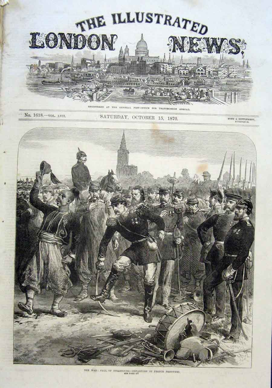 Print French Prisoners At Fall Strasbourg 1870 90Aaa1 Old Original