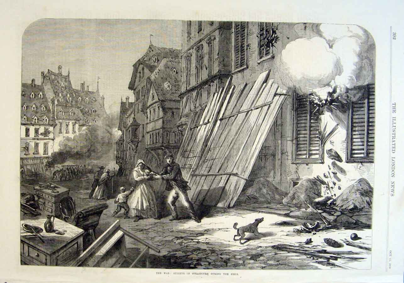 Print Streets Strasbourg During Seige 1870 War 92Aaa1 Old Original