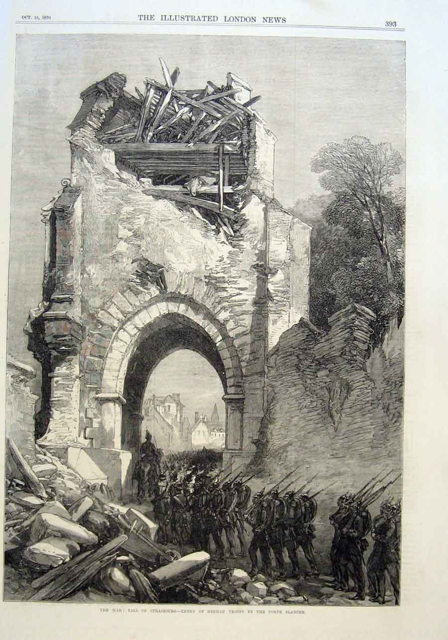 Print Entry German Troops Porte Blanche Strasbourg 1870 War 93Aaa1 Old Original