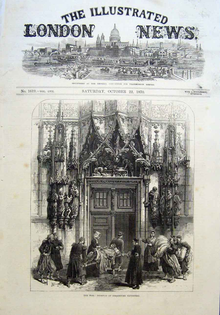 Print Doorway Strasbourgh Cathedral 1870 France 14Aaa1 Old Original