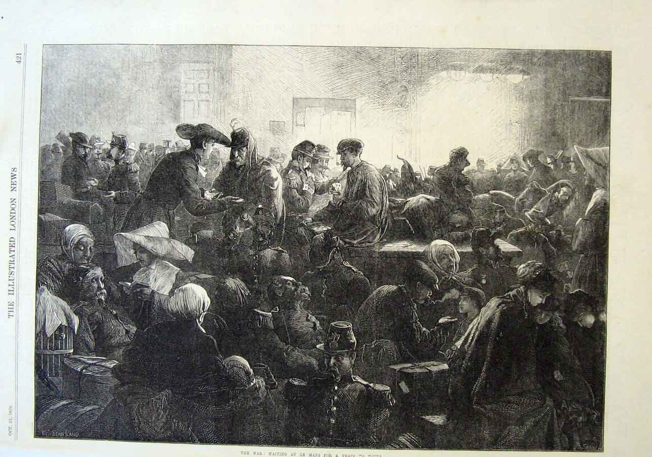 Print Rail Station At Lemans 1870 Wartime France 21Aaa1 Old Original