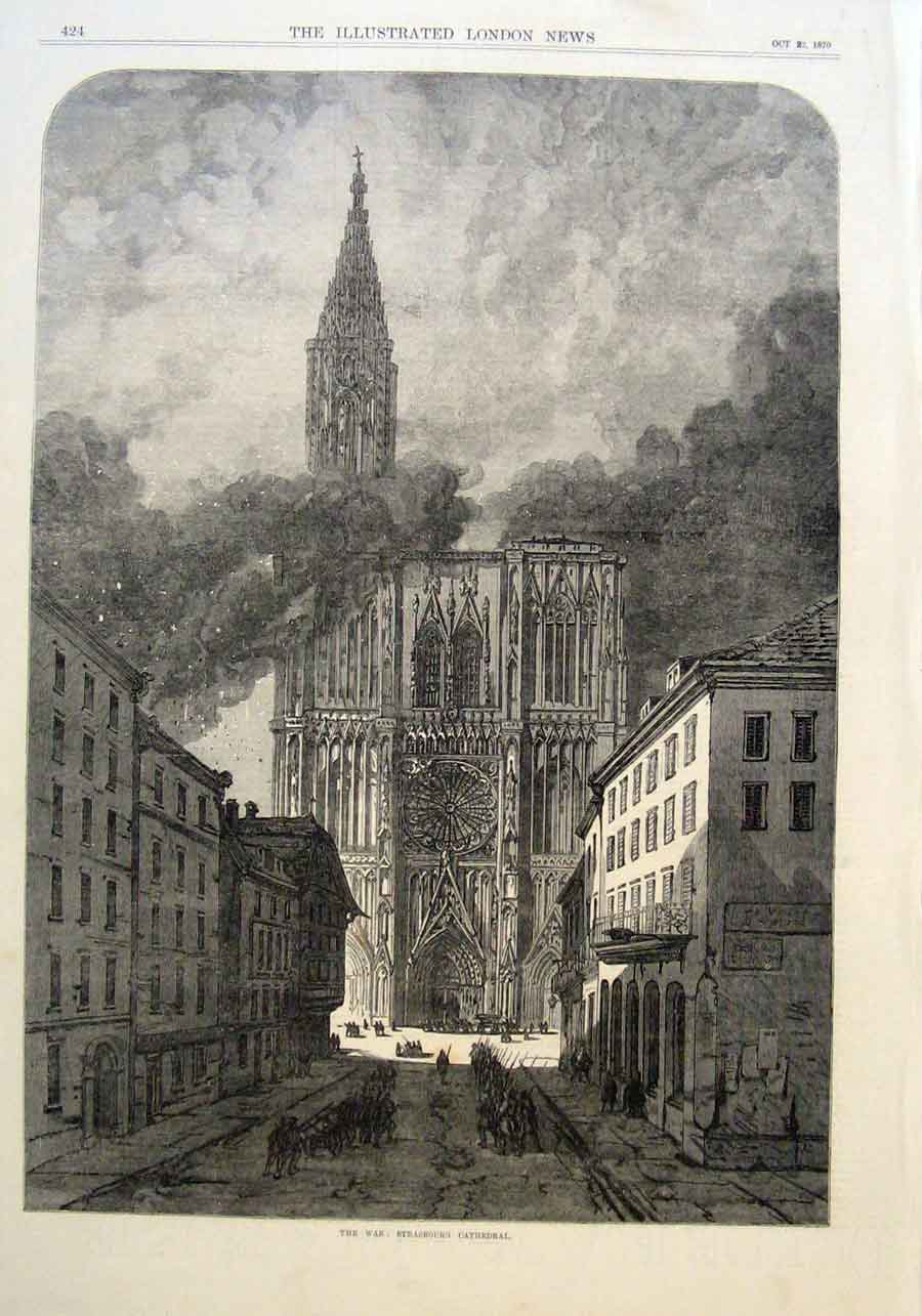 Print Strasbourgh Cathedral Wartime 1870 24Aaa1 Old Original
