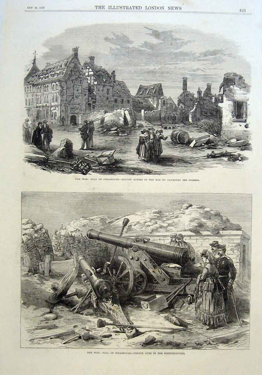 Print Fall Strasbourgh 1870 France 25Aaa1 Old Original