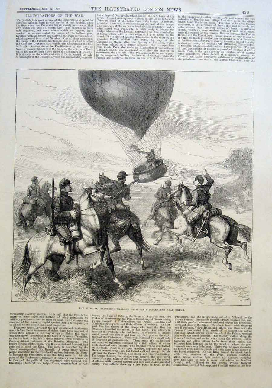 Print M Issandier'S Ballon Descends Nr Dreux 1870 F 29Aaa1 Old Original