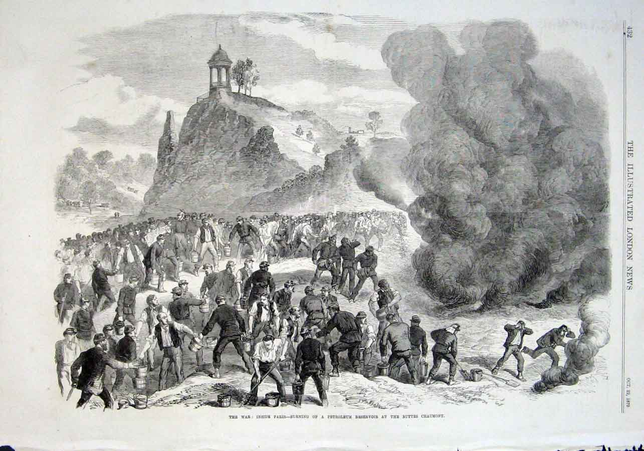 Print Burning Petroleum Resevoir Buttes Chaumont Paris 1870 W 32Aaa1 Old Original