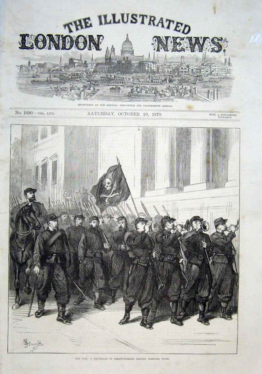 Print Battalion Francs Tireurs At Tours 1870 France 38Aaa1 Old Original