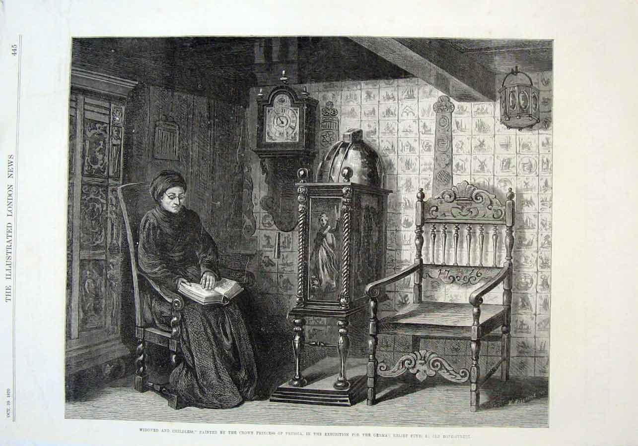 Print Widowed & Childless 1870 Fine Art 45Aaa1 Old Original