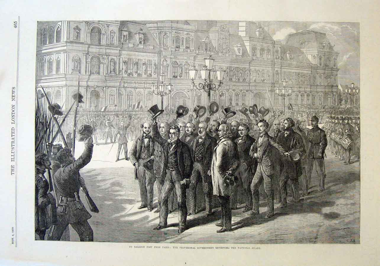 Print Review National Guard By Provisional Government Paris 65Aaa1 Old Original