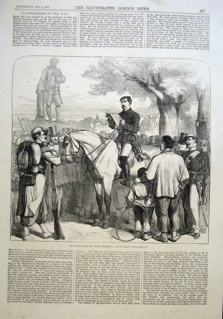 Print Town Crier Tours 1870 France 77Aaa1 Old Original