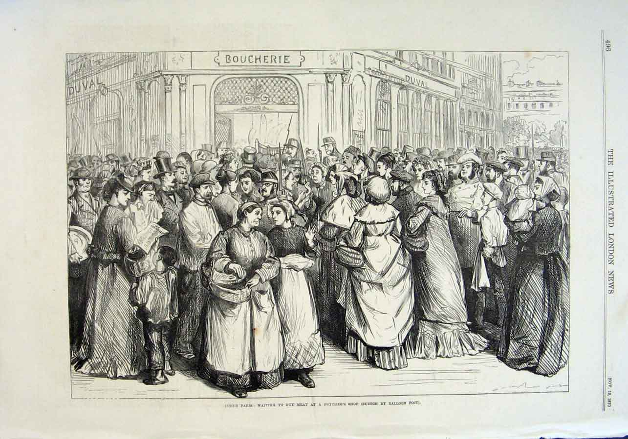 Print Ques Waiting To Buy Meat Paris 1870 War Franc 96Aaa1 Old Original