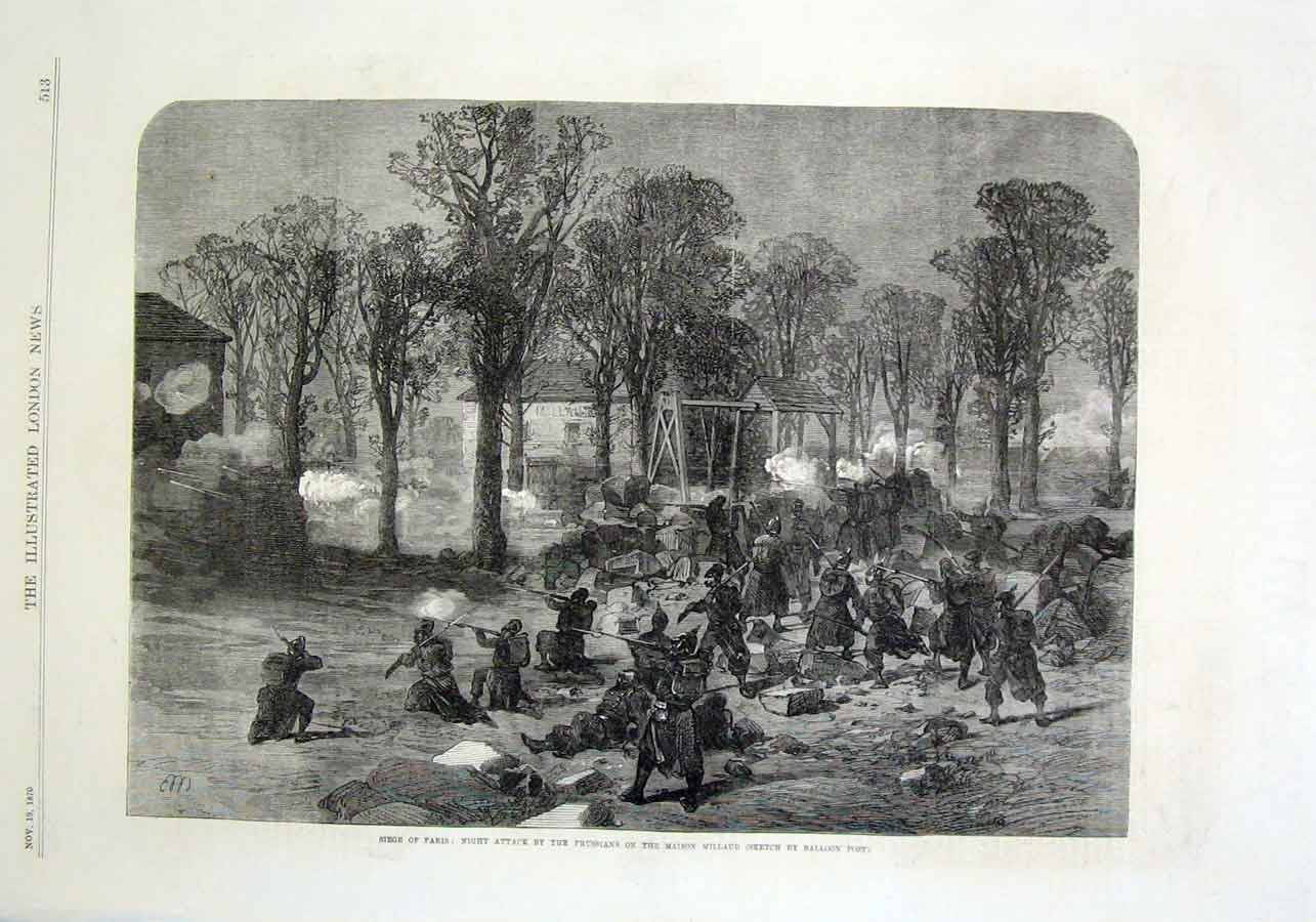 Print Night Attack By Prussians On Maison Millaud Paris 1870 13Aaa1 Old Original