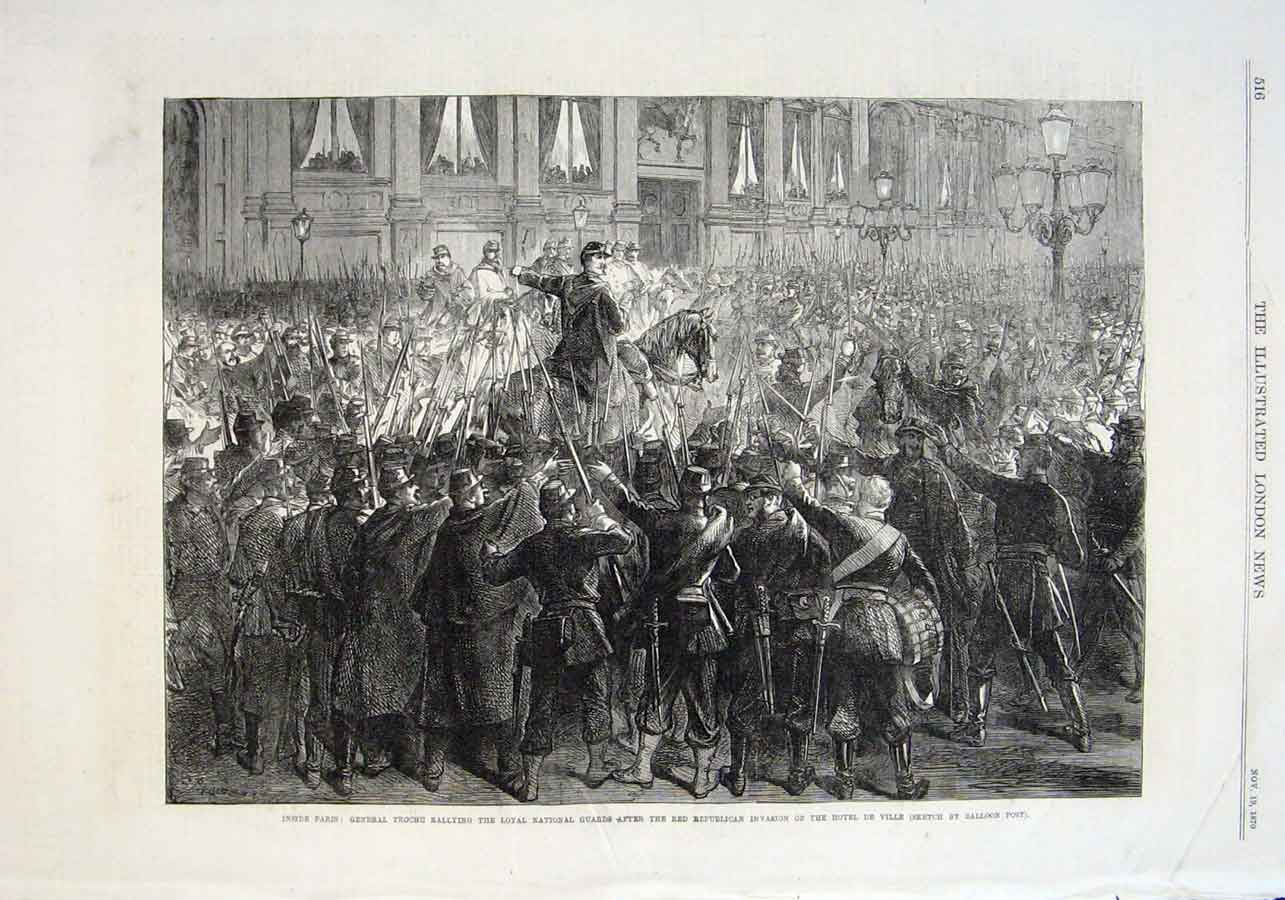 Print Loyal National Guard At Hotel De Ville After Red Republ 16Aaa1 Old Original