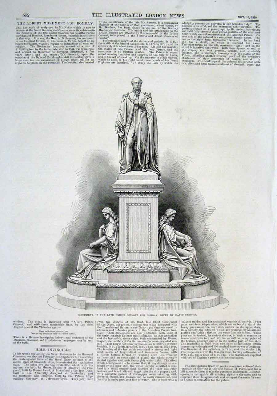 Print Monument Prince Consort At Bombay 1870 52Aaa1 Old Original
