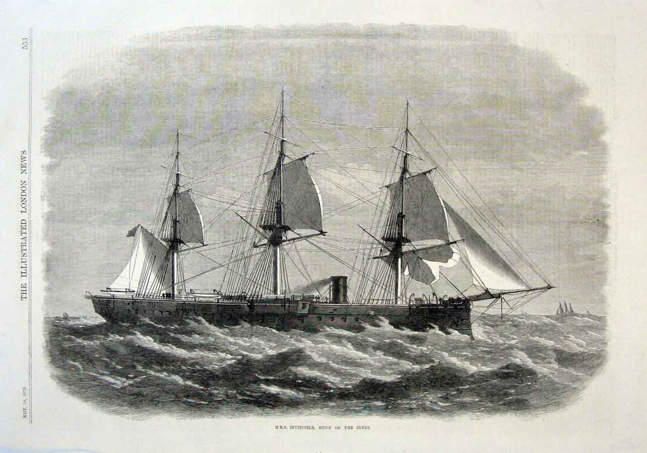 Print Hms Invincible Built On Clyde 1870Nships 53Aaa1 Old Original