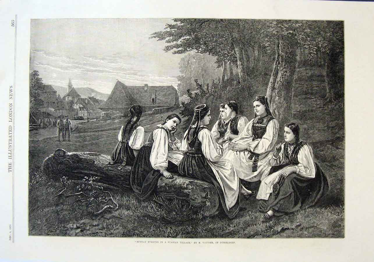 Print Sunday In Suabian Village 1870 Girls By Vauti 65Aaa1 Old Original