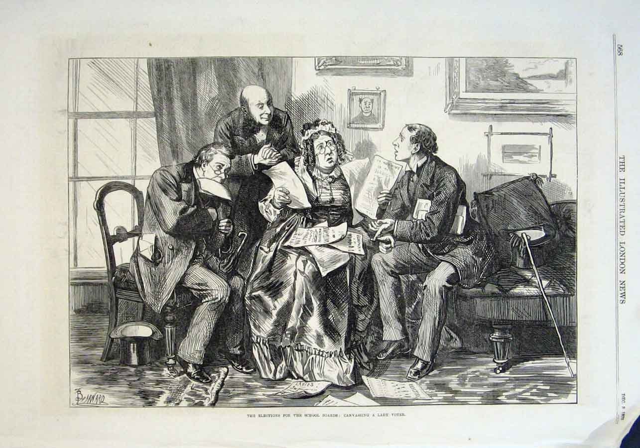 Print Canvassing Lady Voter For School Boards Election 1870 68Aaa1 Old Original