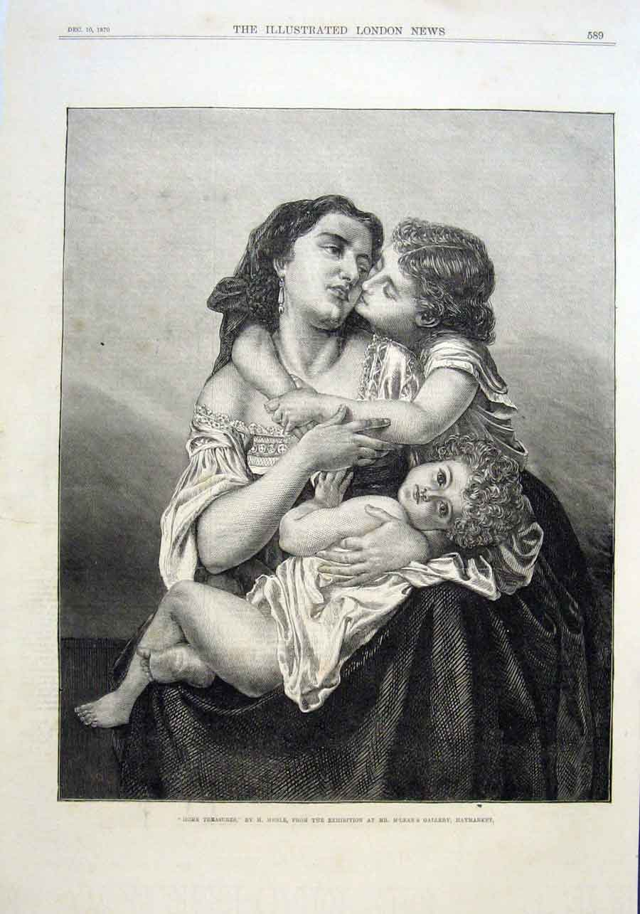 Print Mother & Child 1870 By Merle Fine Art 89Aaa1 Old Original