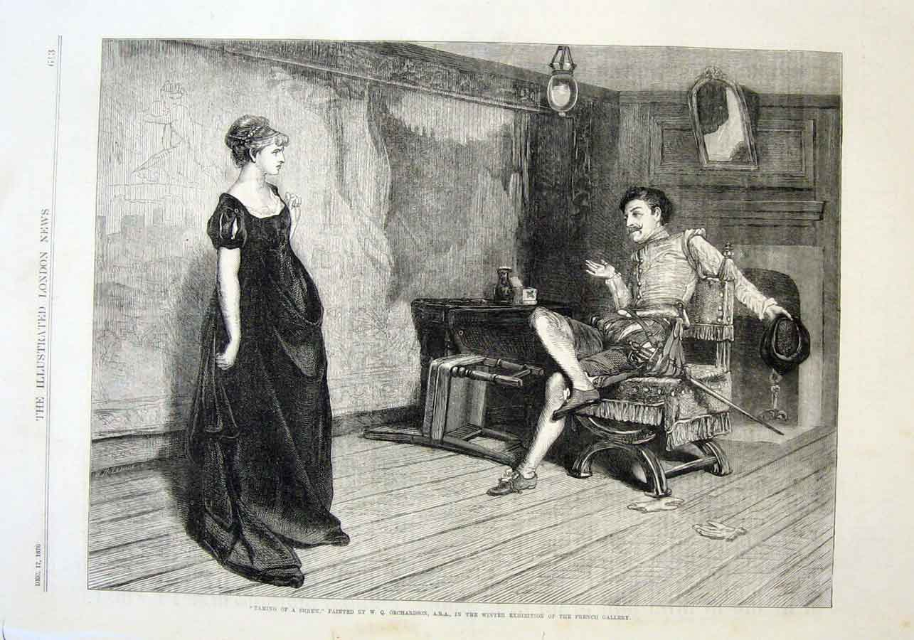 Print Taming Shrew By Orchardson 1870 Fine A 13Aaa1 Old Original