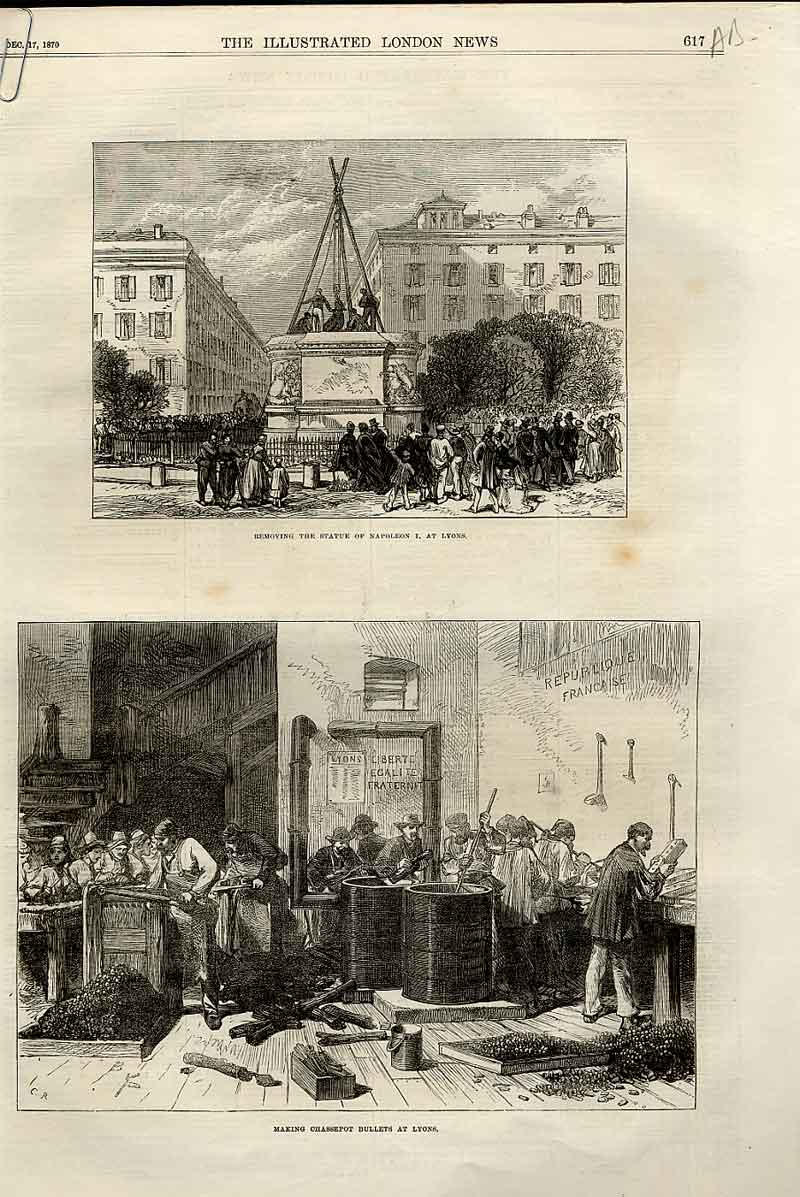 Print War With Prussia Scenes At Lyons France 1870. 17Aaaa1 Old Original