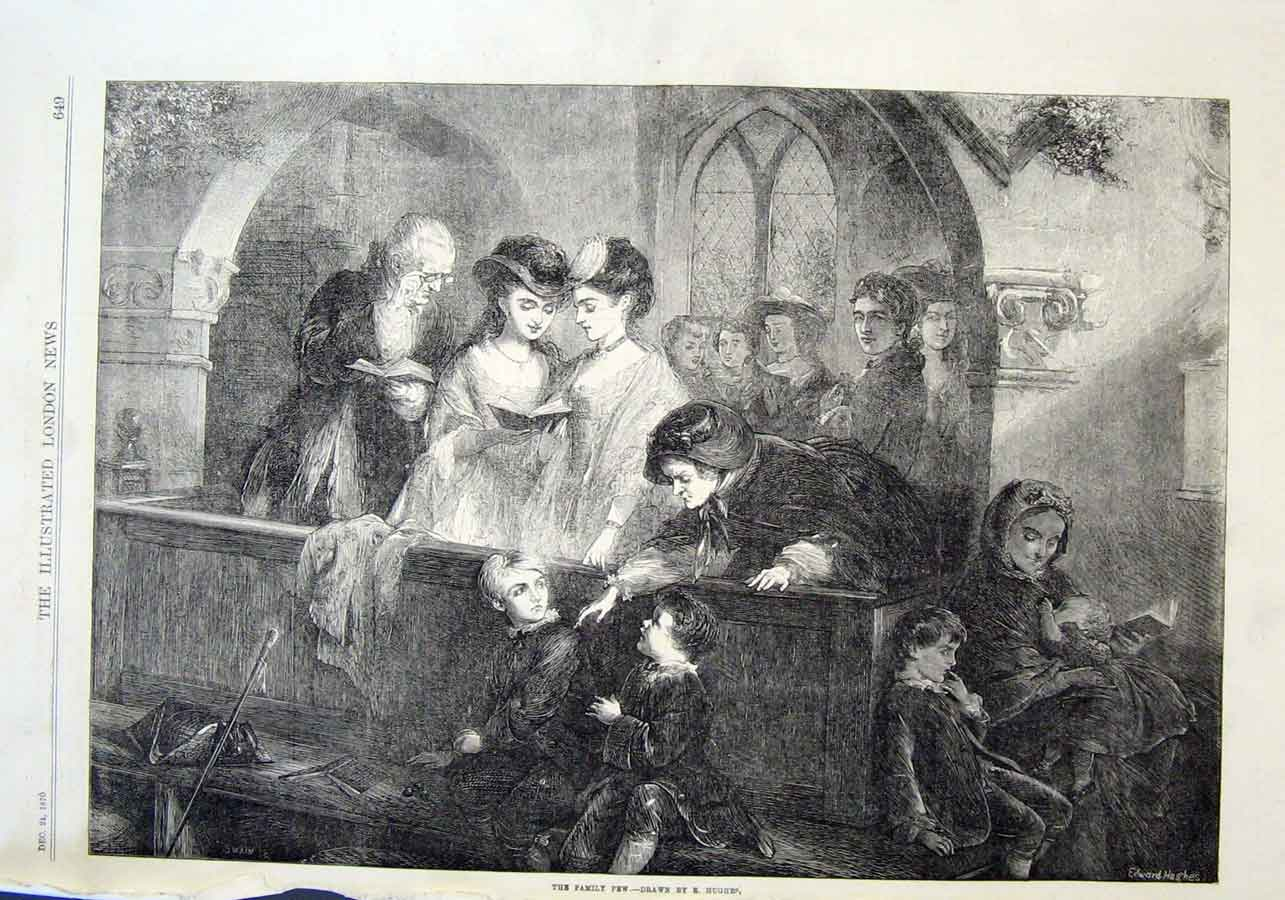 Print Family Pew By Hughes 1870 Church Scene 49Aaa1 Old Original