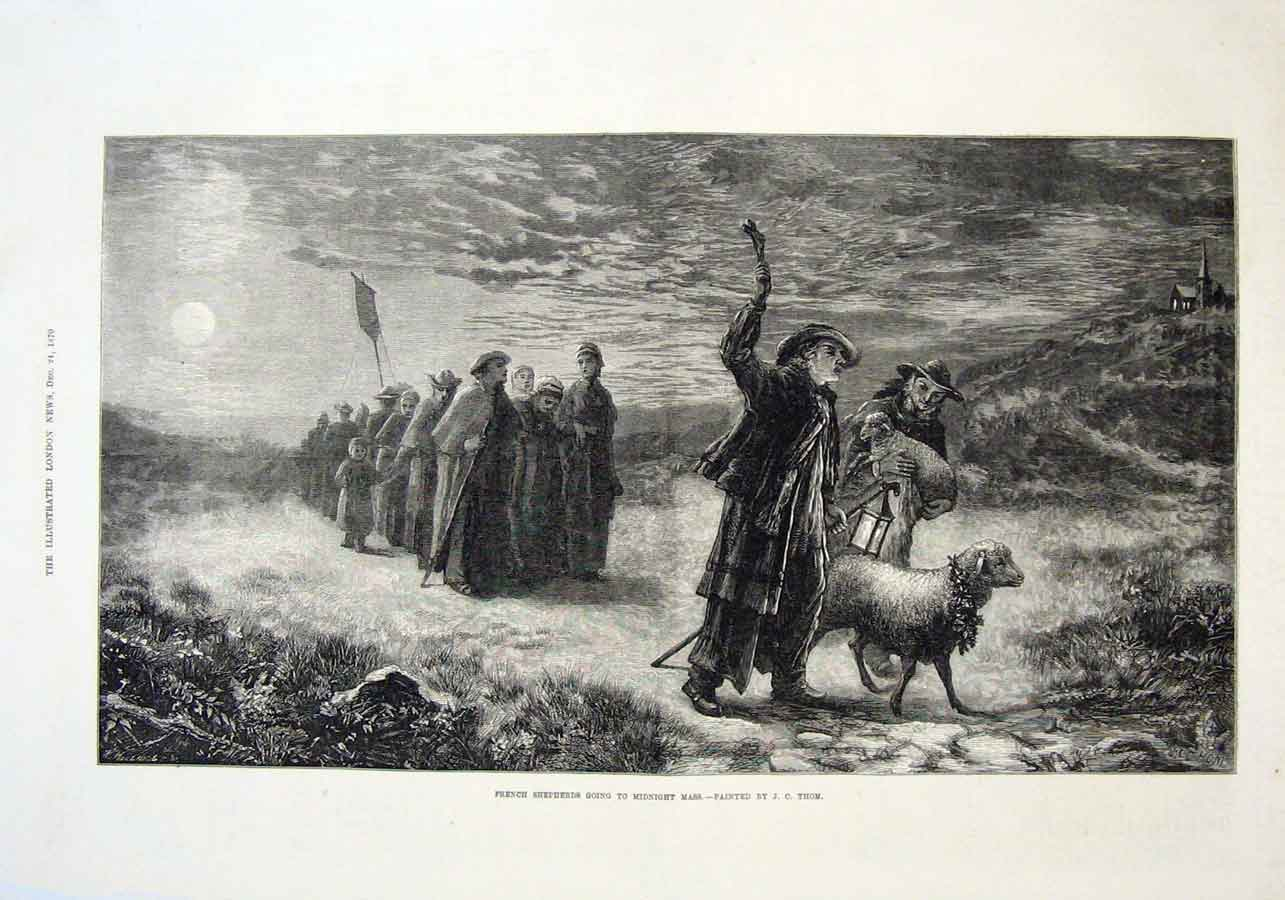 Print French Shepherds Off To Midnight Mass 1870 Christmas 66Aaa1 Old Original