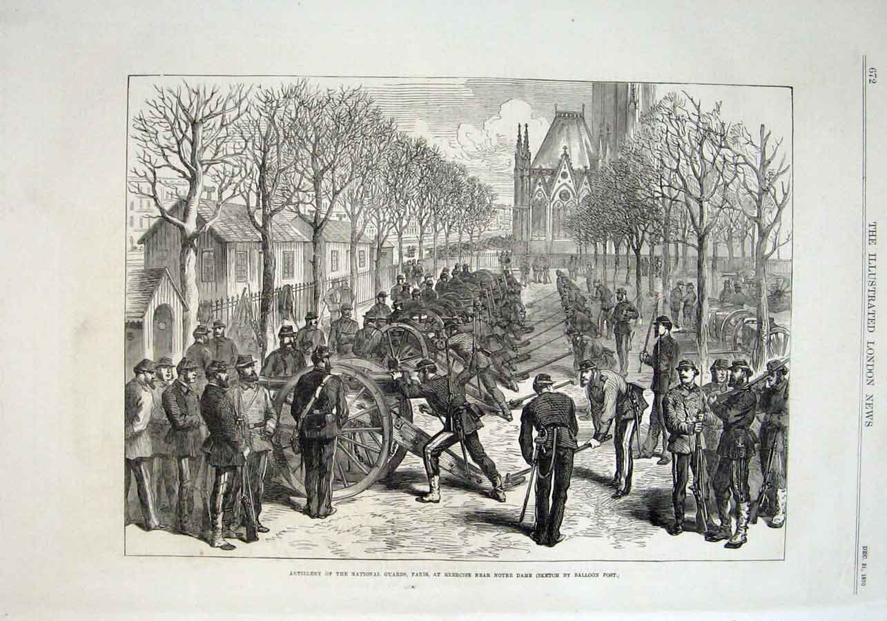Print National Guard Artillery Nr Notre Dame Paris 1870 Franc 72Aaa1 Old Original