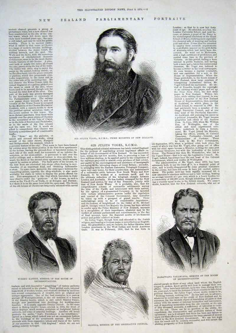 Print New Zealand Parliamentry Portraits 1875 05Aaa1 Old Original