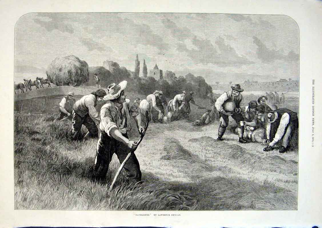 Print Haymakers By Duncan 1875 Fine Art 08Aaa1 Old Original