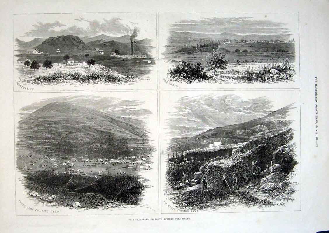 Print Transvaal Or South African Gfields 1875 12Aaa1 Old Original