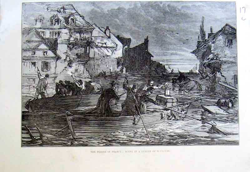 Print Flood France 1875 Suburb Toulouse Flooded 17Laaa1 Old Original